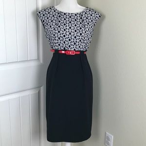 Connected A. Belted Sheath Dress Cap Sleeve Sz 10